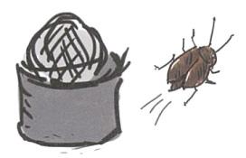 ゴキブリ団子はホウ酸が入っています。ゴキブリがイヤがる力があります。