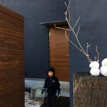 雪だるまとアオダモ