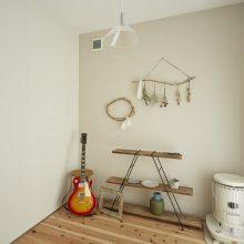 長い玄関スロープが印象的な家。2
